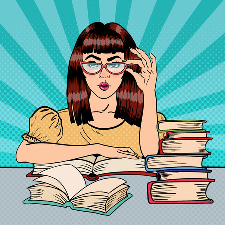Pretty Female Student Reading Books in Library. Pop Art. Vector illustration Ilustração