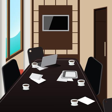 comité d entreprise: Salle de conférence Inter avec table, tablette et ordinateur portable. Vector illustration Illustration
