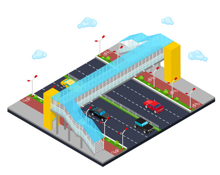 Isometric City. City Road with Pedestrian Bridge and Bicycle Path. Vector illustration