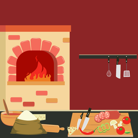 bake: Commercial Kitchen Interior with Bake and Cutlery. Vector Background
