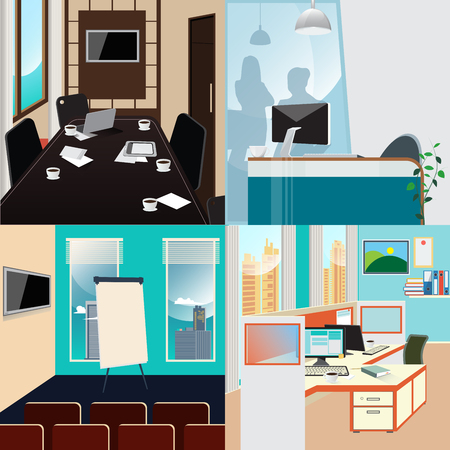 Business Interior Set. Conference Room. Office Work Place. Vector background