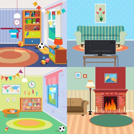 Inicio Conjunto Inters. Los niños dormitorio Inter. Sala de estar con chimenea. ilustración vectorial