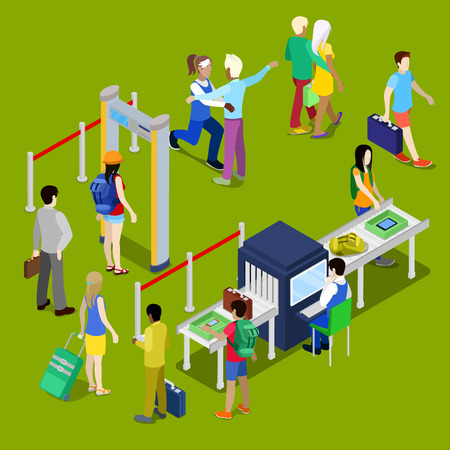 web portal: Airport Security Checkpoint with a Queue of Isometric People with Baggage. Vector illustration Illustration