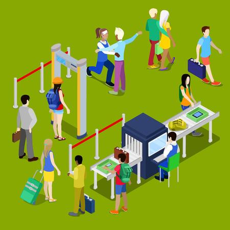 Aéroport de sécurité Checkpoint avec une file d'attente de isométriques personnes avec bagages. Vector illustration