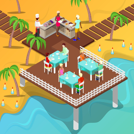 outdoor dining: Isometric Beach Restaurant. Beach BBQ, Chef Cooking Meat. Vector illustration Illustration