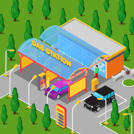 serviceman: Isometric Gas Station with Cars, Serviceman and Driver. Vector illustration Illustration