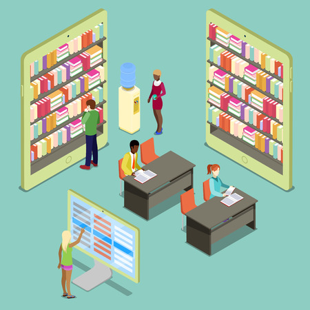 digital library: Isometric Digital Library with Bookshelves and Reading People. Vector illustration
