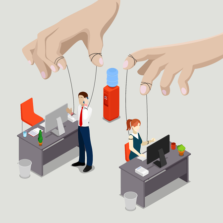 controlling: Isometric People. Office Puppets, Controlled Workers. Vector illustration Illustration
