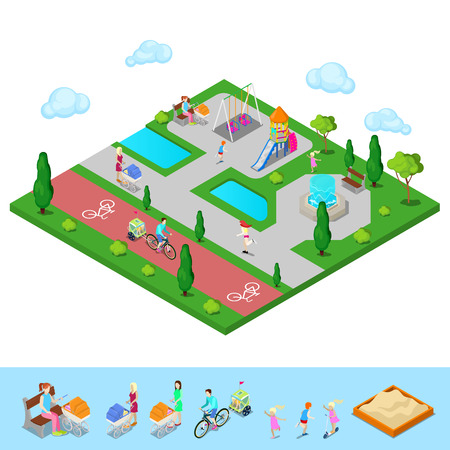 Isometric Children Playground in the Park with People, Sweengs, Slide and Fountain. Vector illustration Illustration