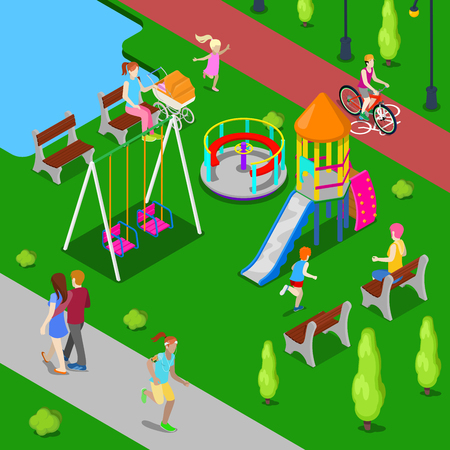Isometric Children Playground in the Park with People, Sweengs, Slide and Carousel. Vector illustration
