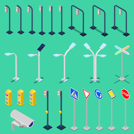 city lights: Isometric Traffic Road Elements with City Lights, Road Signs, Video Camera and Traffic Lights. Vector illustration