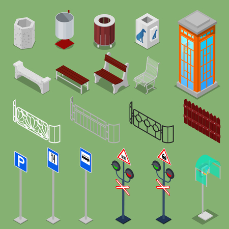 telephone box: Isometric City Urban Elements with Benches, Fences, Road Signs, Telephone Box and Trashcans. Vector illustration