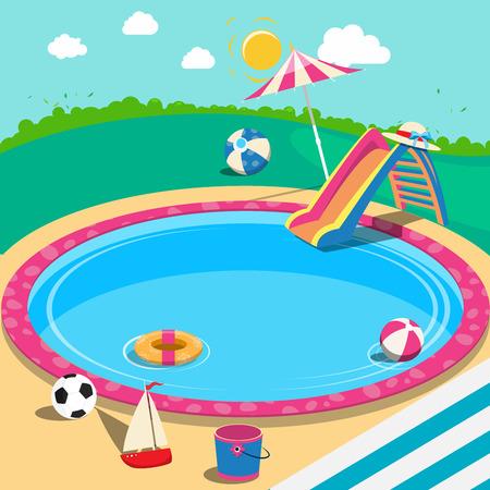 屋外スイミング プールのおもちゃ。夏の時間。ベクトルの背景