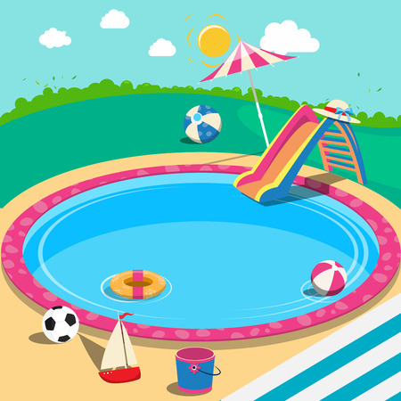 Outdoor Swimming Pool with Toys. Summer Time. Vector Background
