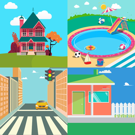 swimming pool home: Landscapes Set. Countryside Landscape. Outside Swimming Pool, Cityscape. Vector background