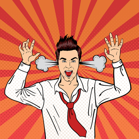 Angry Businessman Shouting with Steam Coming out of his Ears. Pop Art. Vector illustration Illustration