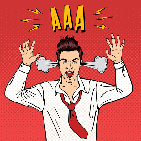 Angry Businessman Shouting with Steam Coming out of his Ears. Pop Art. Vector illustration Ilustração