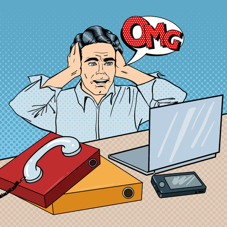 computer art: Stressed Businessman on the Office Work Place with Phone and Laptop. Pop Art. Vector illustration