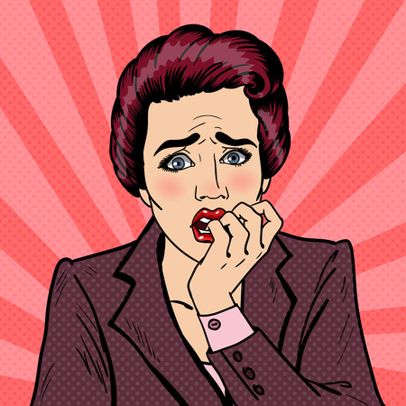 Nervous Business Woman Biting Her Fingers. Pop Art. Vector illustration