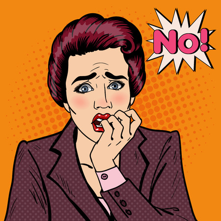 Nervous Business Woman Biting Her Fingers. Pop Art. Vector illustration