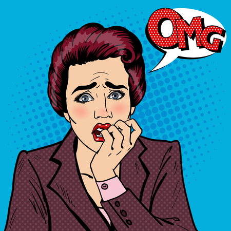 Nervous Business Woman Biting Her Fingers. Pop Art. Vector illustration Фото со стока - 60163805