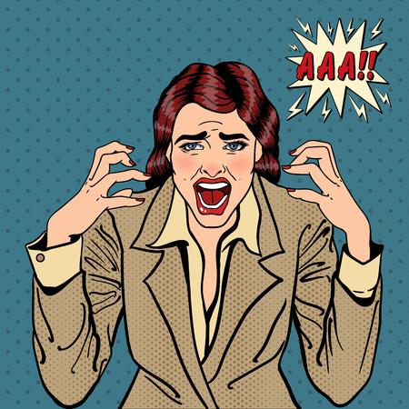 Gefrustreerd Benadrukt bedrijfs vrouw gillen. Pop Art. vector illustratie