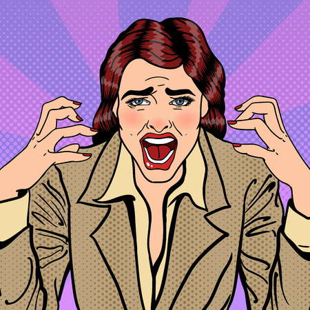 screaming: Frustrated Stressed Business Woman Screaming. Pop Art. Vector illustration