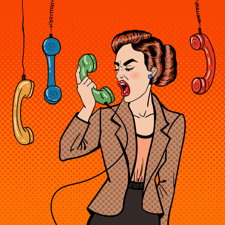 issue: Aggressive Business Woman Screaming into the Phone. Pop Art. Vector illustration Illustration