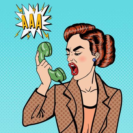Aggressive Business Woman Screaming into the Phone. Pop Art. Vector illustration Ilustração Vetorial
