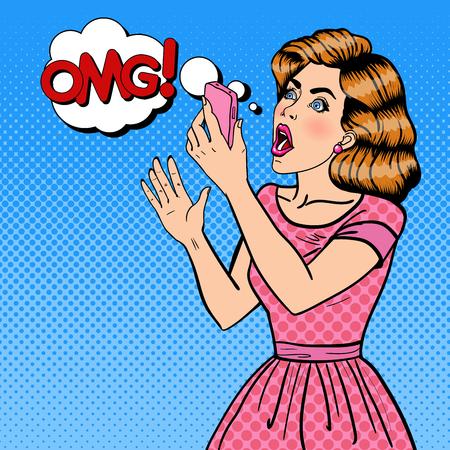Geschokt jonge blonde vrouw bedrijf mobiele telefoon. Pop Art. vector illustratie
