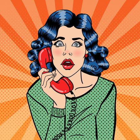shocking face: Shocked Young Woman Talking on the Phone. Pop Art. Vector illustration