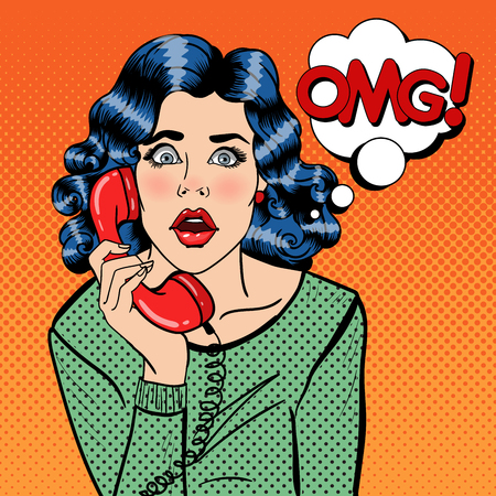 Shocked Young Woman Talking on the Phone. Pop Art. Vector illustration