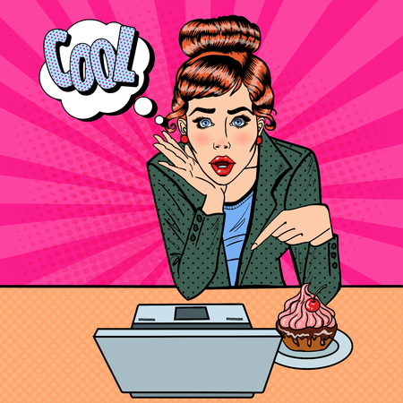 computer art: Surprised Young Pretty Woman Pointing on the Laptop. Pop Art. Vector illustration