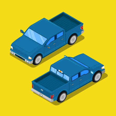 offroad: Isometric Offroad Pick-up Car in Retro Style. Vector illustration Illustration