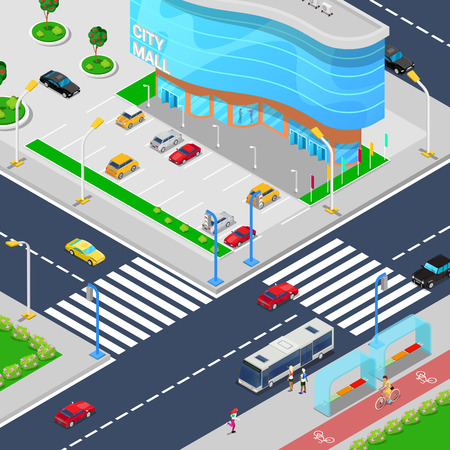 center city: Isometric City Mall. Modern Shopping Center Building with Parking Zone. Vector illustration Illustration