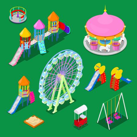 Isometric Children Playground Elements Sweengs, Carousel, Slide and Sandbox. Vector illustration