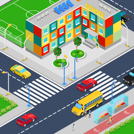 scholar: Isometric City School Building with Football Playground School Bus and Scholars. Vector illustration