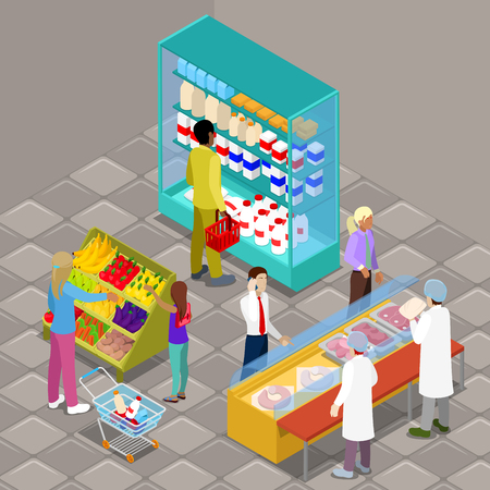 woman drinking milk: Isometric Supermarket Interior with Buyers and Products. Vector illustration