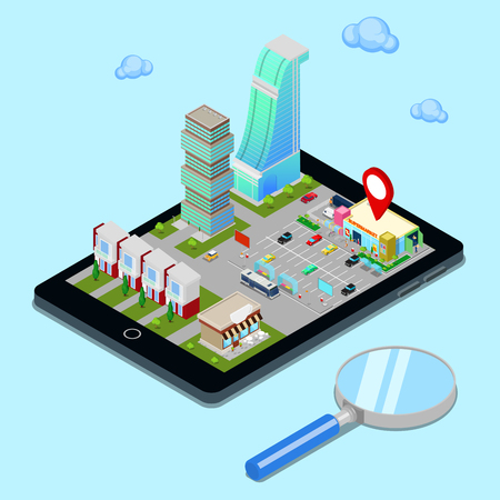 geolocation: Isometric Mobile Navigation. Tourism Industry. Modern City on the Tablet Screen. Vector illustration