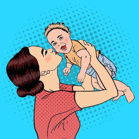 Happy Mother Kissing Her Smiling Baby Boy. Pop Art. Vector illustration