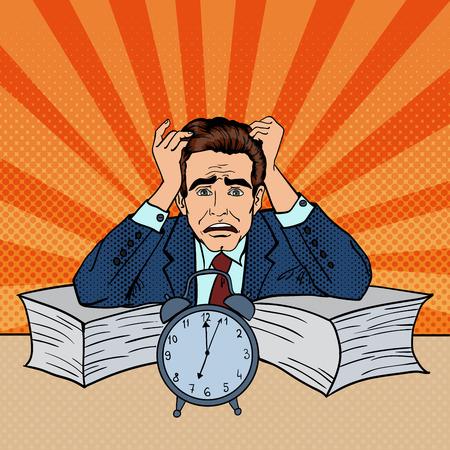 Stressed Businessman Sunk Up in Paperwork. Pop Art. Vector illustration Illustration
