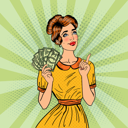 woman dreaming: Young Beautiful Woman with Money Dreaming About how to Spend. Pop Art Vector illustration Illustration