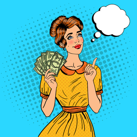 Young Beautiful Woman with Money Dreaming About how to Spend. Pop Art Vector illustration Ilustrace