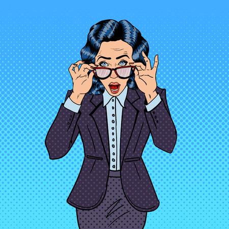 surprising: Surprising Business Woman Wearing Eyeglasses. Pop Art. Vector illustration