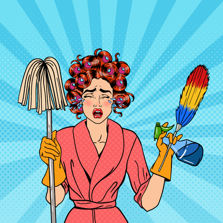 Exhausted Stressed Housewife with Mop and Cleaning Brush Crying. Pop Art. Vector illustration Çizim