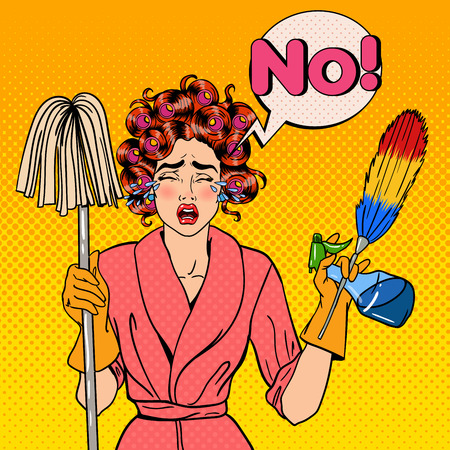 stress woman: Exhausted Stressed Housewife with Mop and Cleaning Brush Crying. Pop Art. Vector illustration Illustration