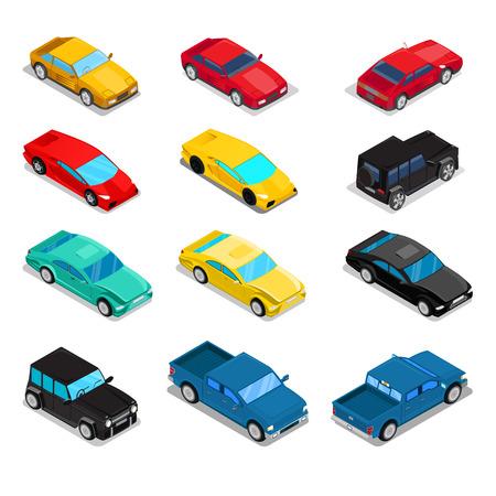 offroad car: Isometric Transportation Car Set - Pick-Up, Offroad Car, Sportcar, Luxury. Vector illustration