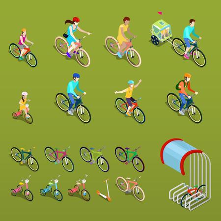 자전거에 아이소 메트릭 사람들입니다. 도시 자전거, 가족 자전거 및 어린이 자전거. 벡터 일러스트 레이 션
