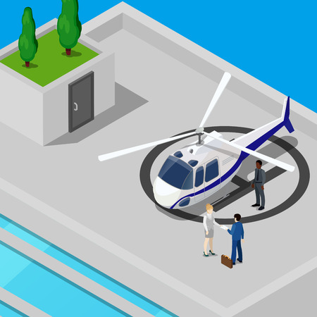 partnership security: Isometric Helicopter with Business People on the Roof of the Building. Vector illustration