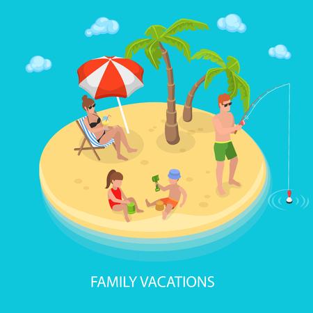 Isometrische Tropische Eiland Strand Met Gelukkige Familie Ontspannen. Vector illustratie